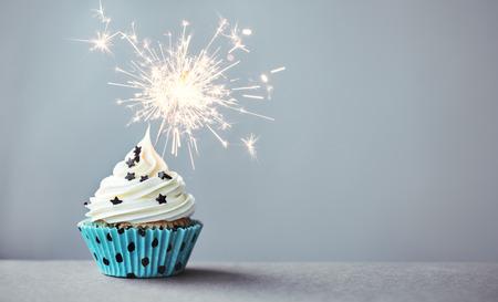 カップケーキに花火