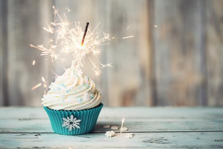 カップケーキに線香花火