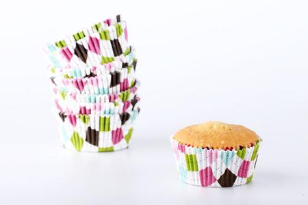 チェック柄のケーキ用カップ
