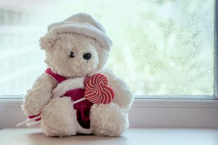 窓辺にある白クマのぬいぐるみ