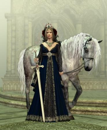 中世の女性と馬