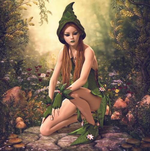 秋の森にたたずむ妖精