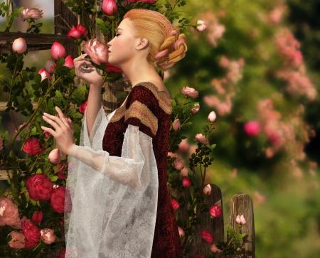 薔薇の香りをたしかめる女性