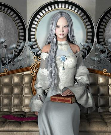 本を手にする銀髪の少女