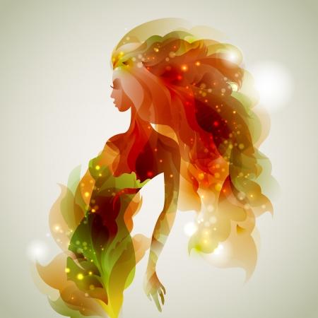 オレンジの光をまとう女性