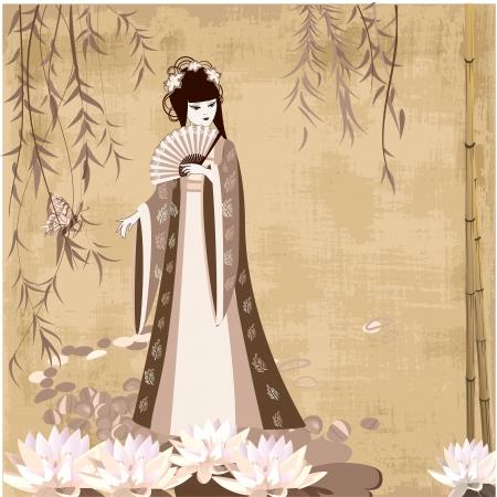 古い時代の中国の少女