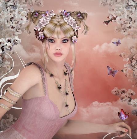 春の花と美しい少女