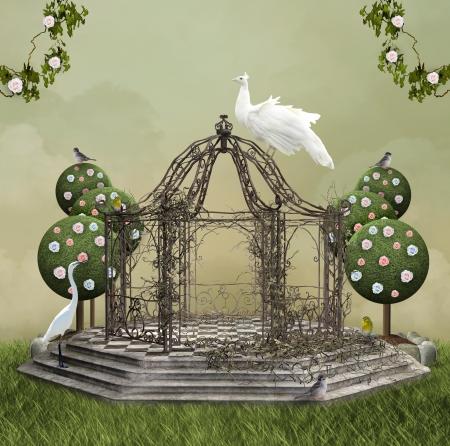 不思議な神殿に白い鳥