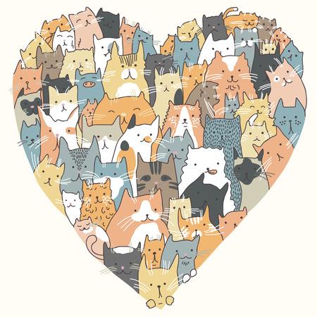 犬や猫が集まったハート型イラスト