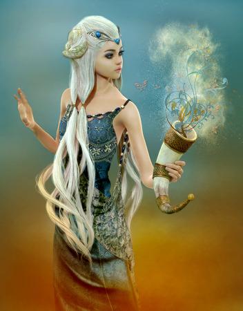 幻想的な白い髪の少女