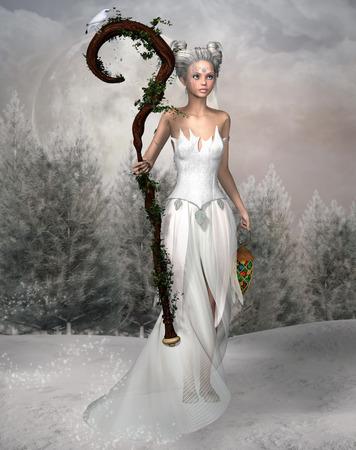 杖をもつ雪の妖精