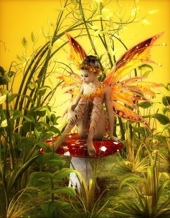 赤いキノコの上に座る妖精