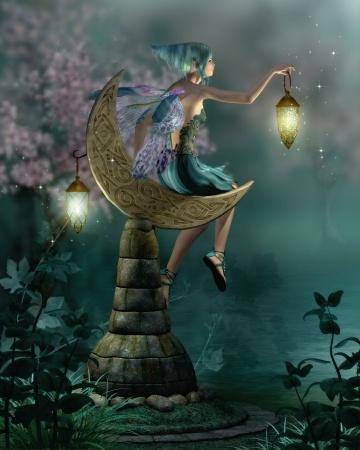夜にランプを手にする妖精