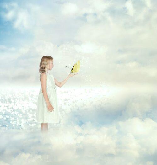 雲の中にいる少女と蝶。