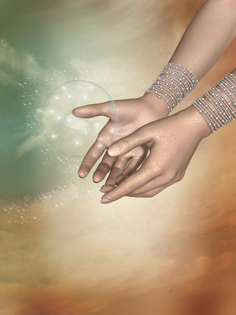 手のひらに丸い形のエネルギー