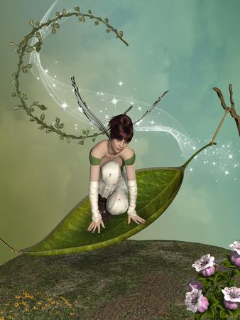 葉っぱのハンモックの上に妖精