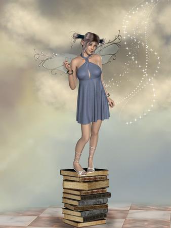 積み上げた本にのる妖精