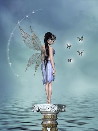 蝶と話す妖精