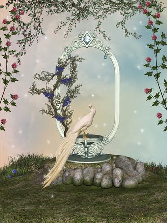 幻想的な様子と白い鳥