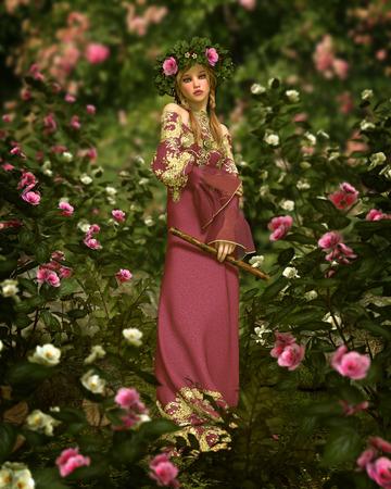 花に囲まれる妖精