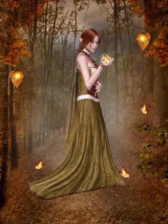 蝶と語る妖精