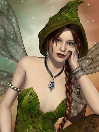 葉っぱの衣装をつけた妖精