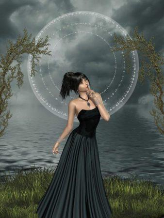 幻想的な背景と黒い服装の女性