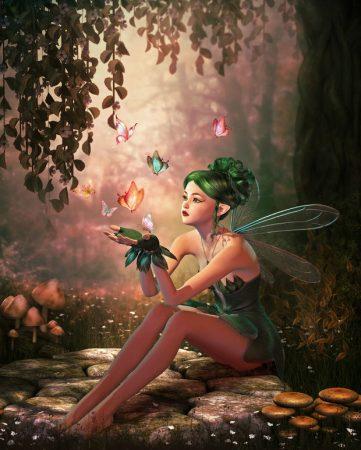 森の中に座る妖精