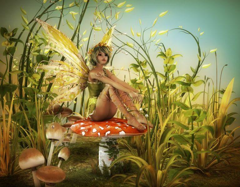 キノコの上に若い妖精