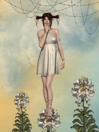 花の上に立つ妖精