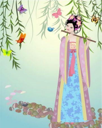 中国の少女イラスト