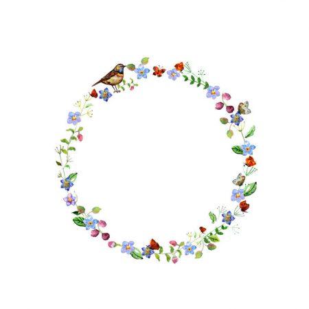 花でつくった輪に鳥と蝶が集まる