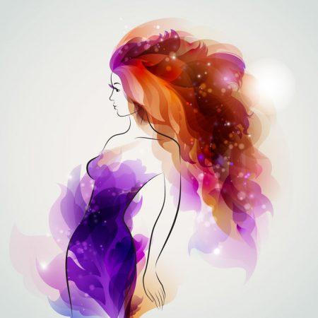 オレンジと紫のイメージ、女性