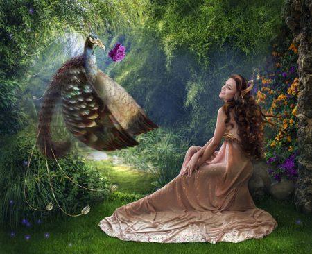 物語の中の鳥と女性
