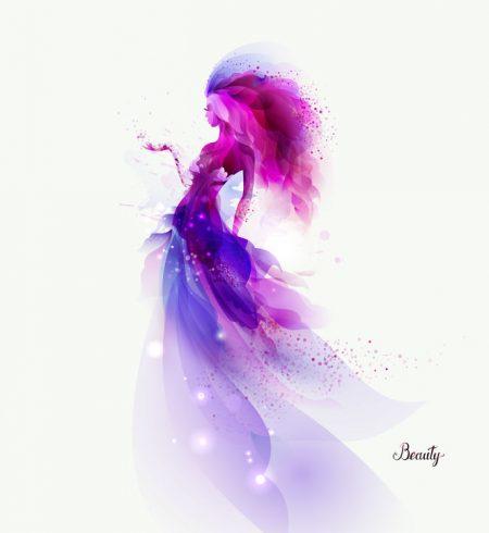 紫の光をまとう女性イラスト