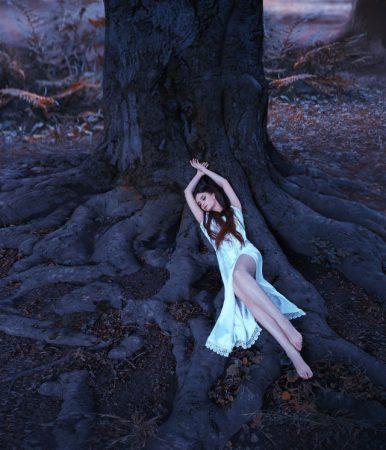 大木の根元で眠る女性