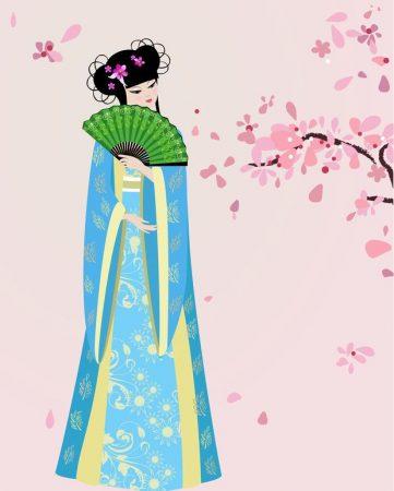 桜の花と伝統的な衣装の少女