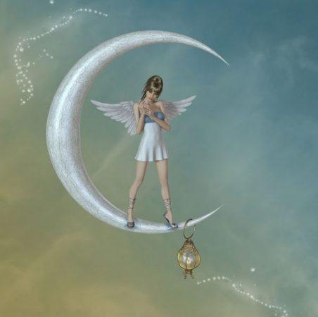 大きな月の上に妖精