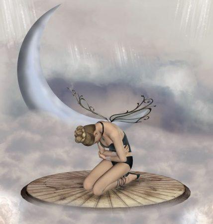 月の近くにいる妖精