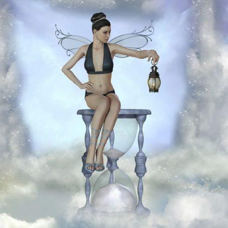 砂時計に座る妖精