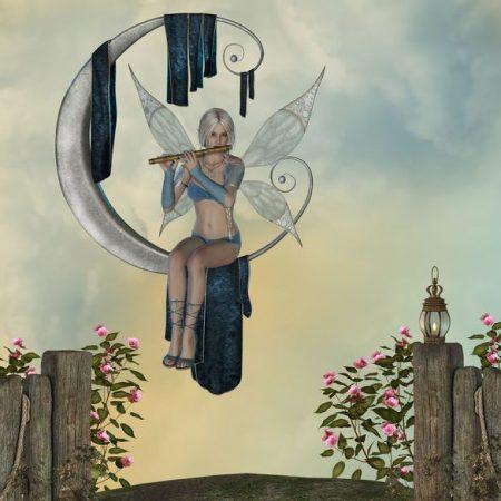 月に座る妖精