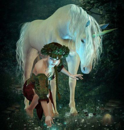 幻想の森に、ユニコーンと少女