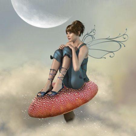 雲の中で座る妖精