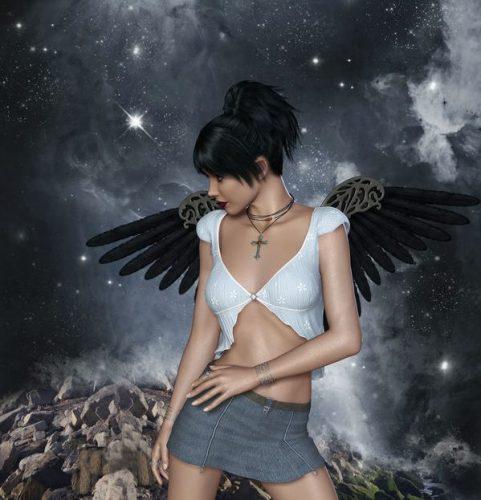 黒い天使の羽根をつけた女性