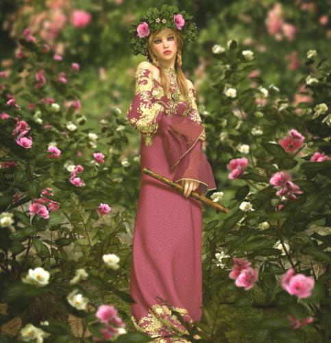 花の側で笛をふく妖精