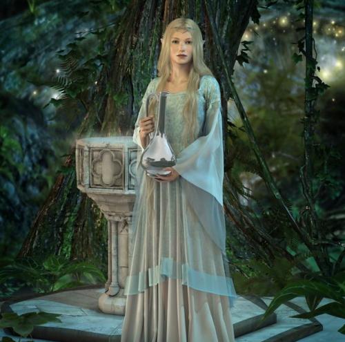 夜の森でランプを手にする妖精