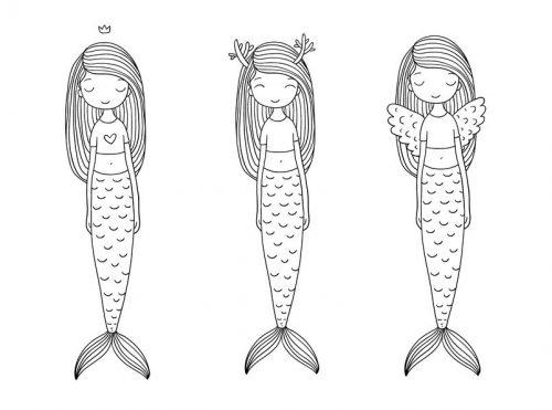 3人の人魚イラスト
