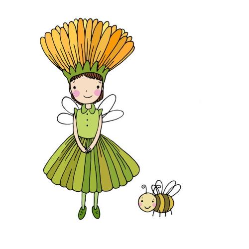 花の妖精とみつばち