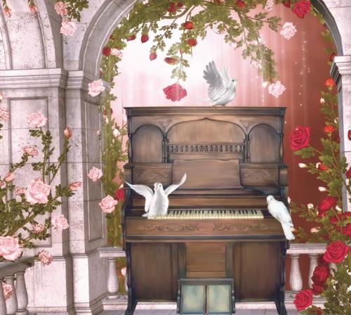 木製のピアノと白い鳩