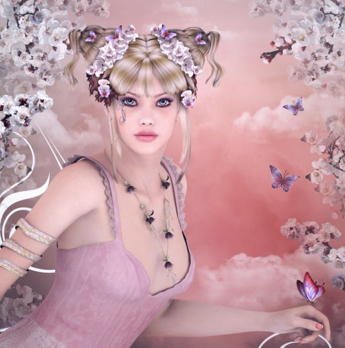 桜の下にいる若い女性
